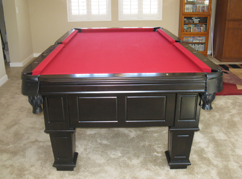 Gulf Black Pool Table Additional Pictures. Red Felt. Camel Felt
